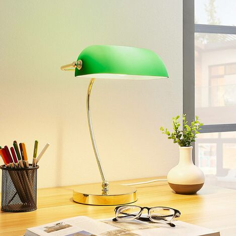 Table Lamp 'Selea' (antique, vintage) in Green made of Glass (1 light source, E27, A++) from Lindby | Desk Lamps