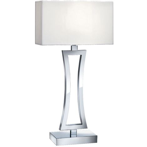 Table Lamp (Single) - Curved Rectangle Chrome/Oblong White Fabric Shade