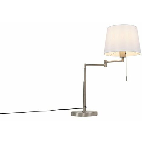 Table lamp steel with white shade and adjustable arm - Ladas