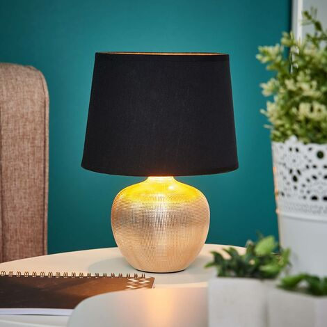 Table Lamp 'Thorina' (modern) in Black made of Textile (1 light source, E14, A++) from Lindby | bedside table lamp, night light