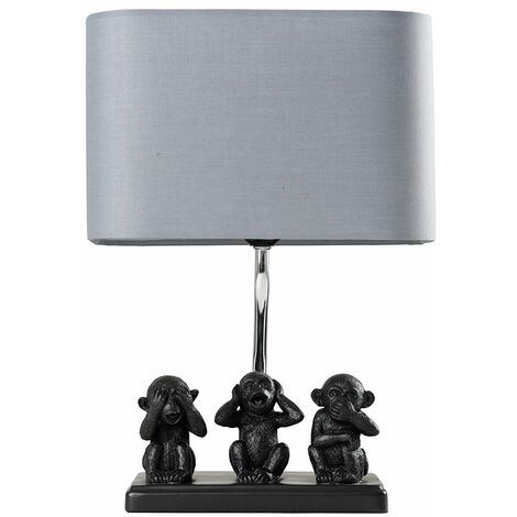 Table Lamp Three Wise Monkeys Grey Fabric Shade - Add LED Bulb - Black