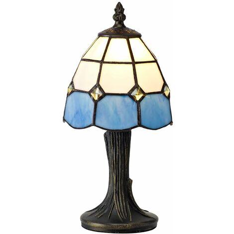 Table lamp Tiffany Buena 1 Bulb White / Blue 15 Cm