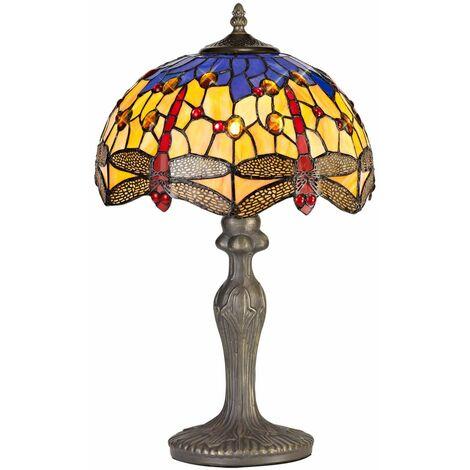 Table lamp Tiffany Clio 1 Bulb Orange / Blue 78 Cm