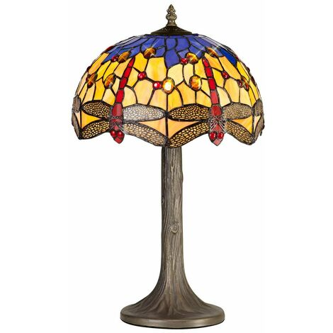 Table lamp Tiffany Clio 1 Bulb Orange / Blue