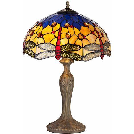 Table lamp Tiffany Clio 2 Bulbs Blue / Orange 40.5 Cm