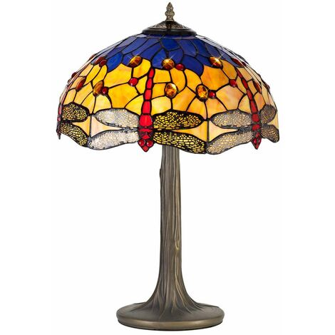 Table lamp Tiffany Clio 2 Bulbs Orange / Blue 16 Cm
