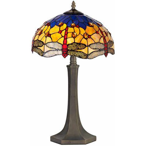 Table lamp Tiffany Clio 2 Bulbs Orange / Blue 38 Cm