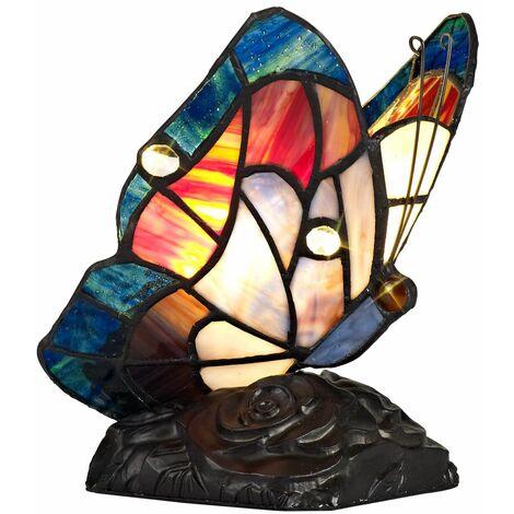 Table lamp Tiffany Colin 1 Bulb Blue / Brown 29.5 Cm