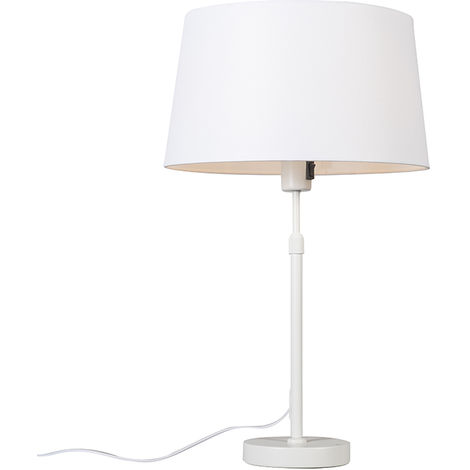 Table lamp white with shade white 35 cm adjustable - Parte