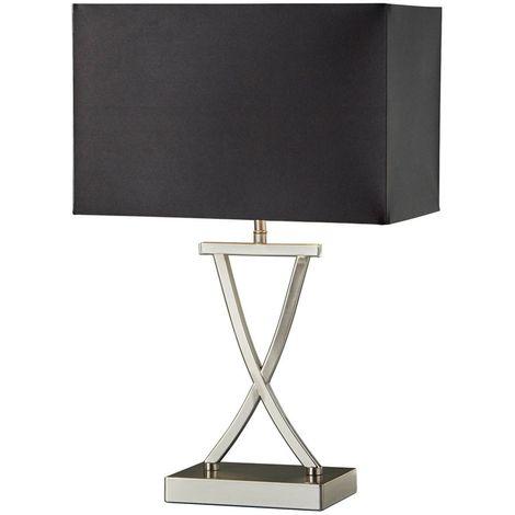 Table Lamp X Shape Base Satin Silver Finish - Black Rectangle Shade