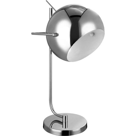 Table Lamp,Chrome/White Inside