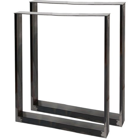 Table Legs Industrial Design 60x72cm Clear Varnish Coated Steel for Tables and Benches