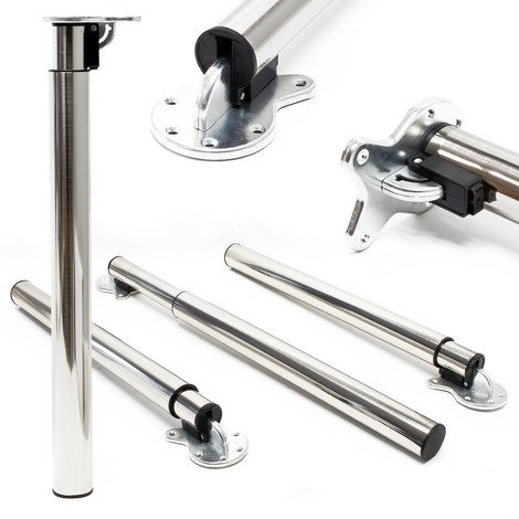 Table legs set of 4 nickel with adjustable height 70 - 110cm Furniture foot