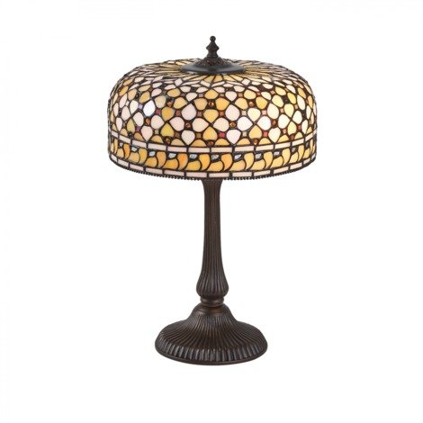 Table Light Tiffany Style Glass Dark Bronze Paint With Highlights By