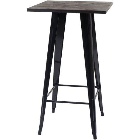 Table mange-debout HHG-401, plateau en bois, design industriel, métal, 107x60x60cm, noir