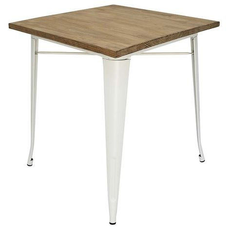 Table manger Tolix pattes blanches plateau en bois