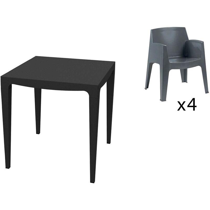 Table Master 4 places et 4 fauteuils gris anthracite