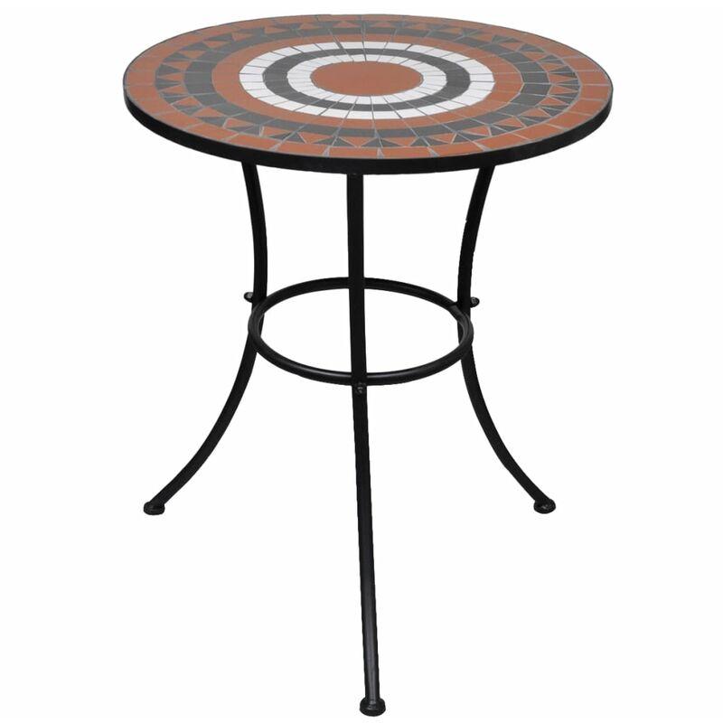 Vidaxl - Table de bistro Terre cuite et blanc 60 cm Mosaïque