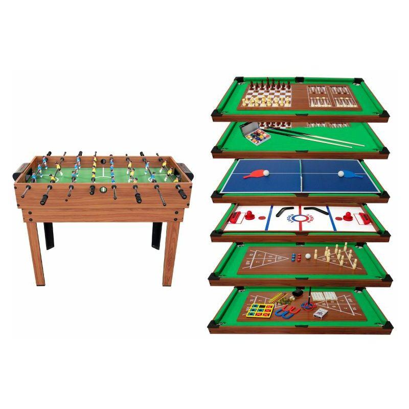 Table Multi Jeux 20 en 1 sur Pied, Multifonction avec Plateaux Modulables et Accessoires pour 20 jeux différents, 122x61x84 cm - Marron