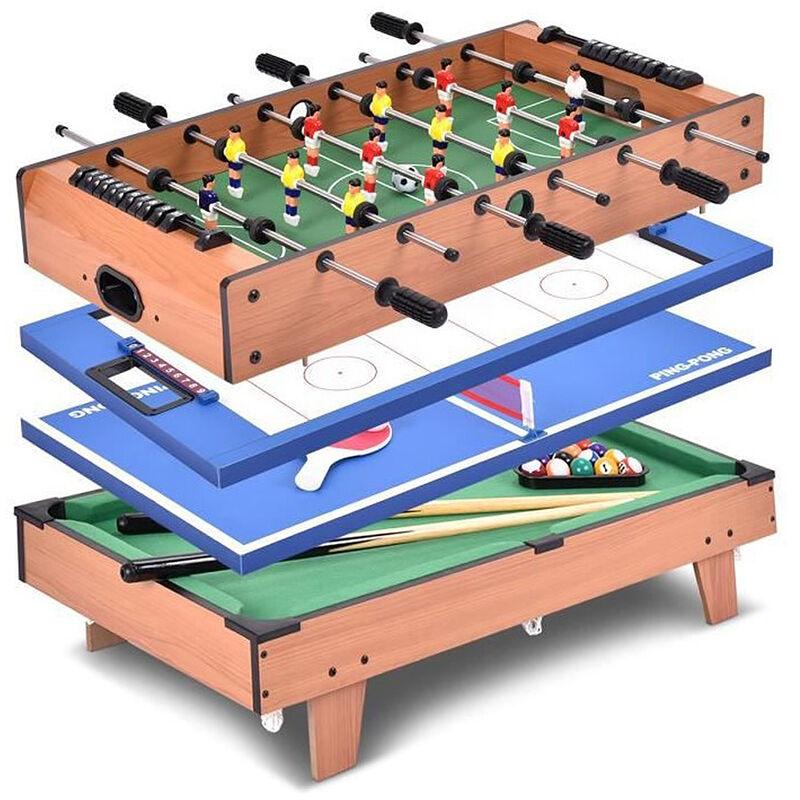 Skecten - TABLE MULTI-JEUX 4 en 1: Football, Tennis de Table, Hockey, Billard Table Gain de Place 81x42.5x31.5cm