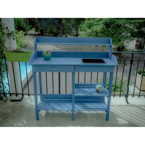 table multiusages lasurée bleue - tab1105 - habrita