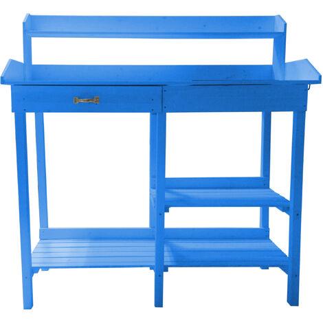 Table multiusages lasurée couleur bleue utilisable en table rempotage ou table cuisine
