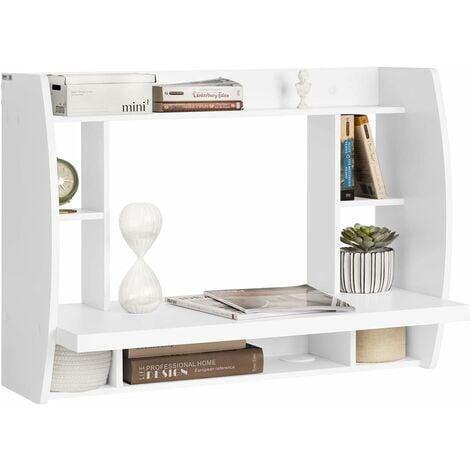 Table murale Bureau avec Étagère intégrée Armoire de rangement murale (Blanc) FWT18-W SoBuy®