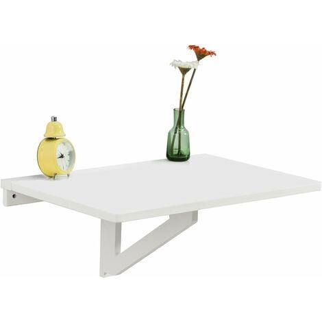 Table murale rabattable en bois, table de cuisine, table enfant, L60×P40cm -Blanc FWT03-W SoBuy®