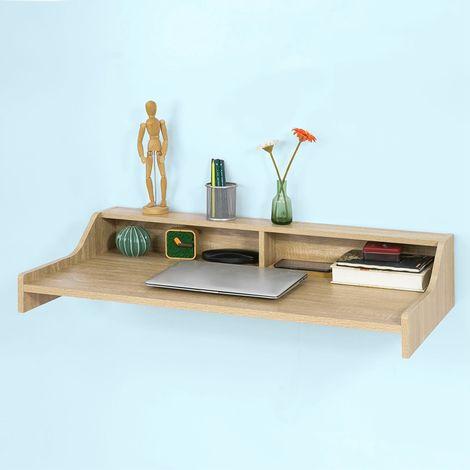Table murale Table de cuisine Bureau informatique avec 2 niches de rangement ouverts FWT47-N SoBuy®