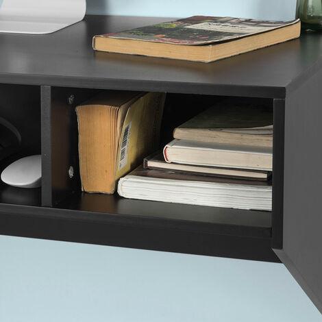 Table murale Table de cuisine Bureau informatique avec 3 compartiments - Noir FWT14-SCH SoBuy®