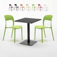 Chaises Restaurant 60x60 Avec Deux Licorice Table Colorées Noir Carrée K1Tl3JcF