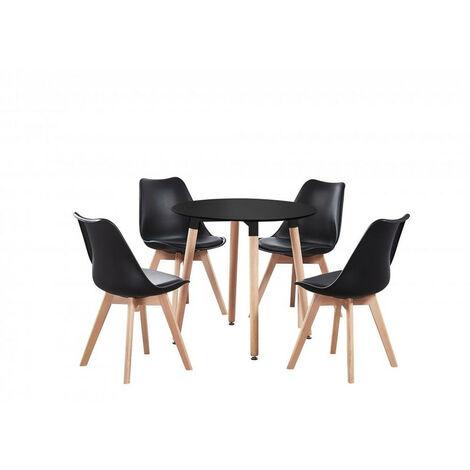 """main image of """"Table Noire Ronde + 4 Chaises Scandinaves Noires - Ensemble pour Salle à Manger ou Cuisine"""""""
