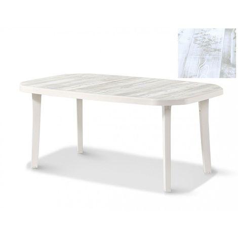 TABLE NORDIC 165x100 coloris lin plateau décoré bois - lin