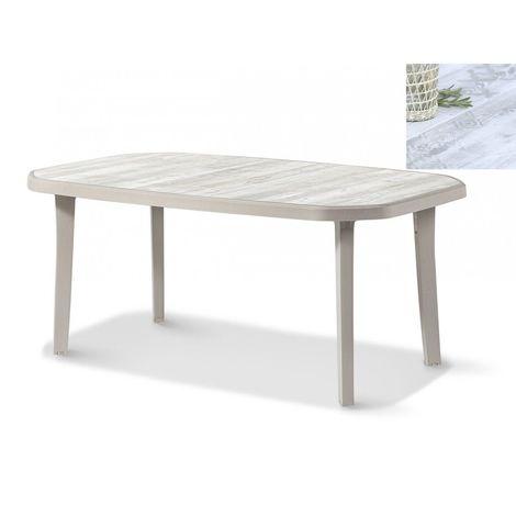 TABLE NORDIC 220x100 coloris lin plateau décoré bois - lin
