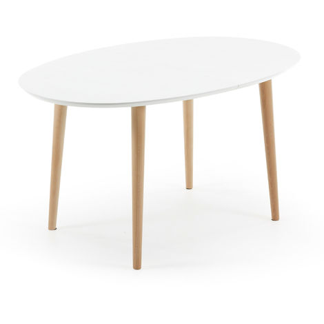 Table Oqui extensible ovale 140 (220) x 90 cm blanc