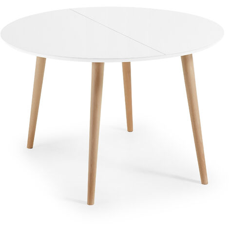 Table Oqui extensible ronde 120 (200) x 120 cm blanc
