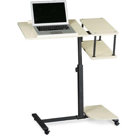 Table ordinateur portable, 4 roues, freins, support tablette hauteur réglable XL 100 x 77 x 40 cm bois crème