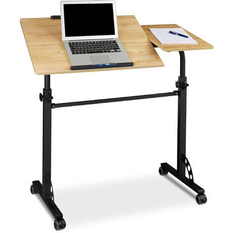 Table ordinateur portable hauteur réglable HxlxP : 110 x 100 x 50 cm roues table bout de canapé lit bois, jaune