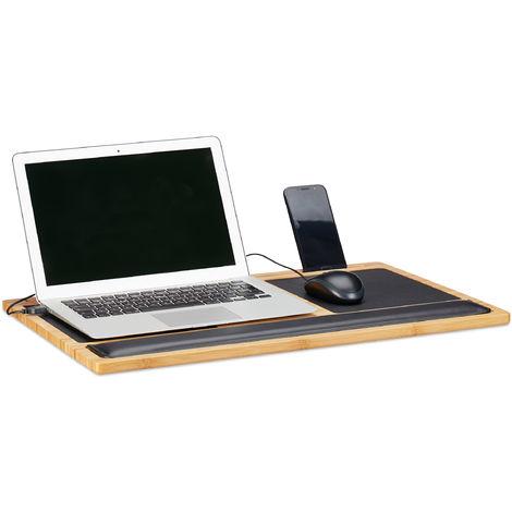 Table Ordinateur Portable Tablette Genoux, Support Fente Smartphone 2 Tapis Souris, 60x40cm, Bambou, Nature