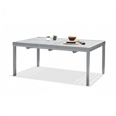 Table ORLANDO avec rallonge automatique, en aluminium - 6 fauteuils  empilables