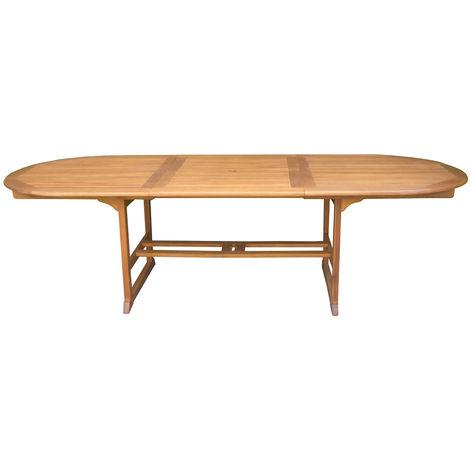 Table ovale extensible en bois exotique coloris naturel - Dim : 200/280 x  110 cm