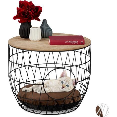 Table panier avec litière, chats et chiots 2 fonctions en une, Meuble d'appoint fil,Coussin, noir