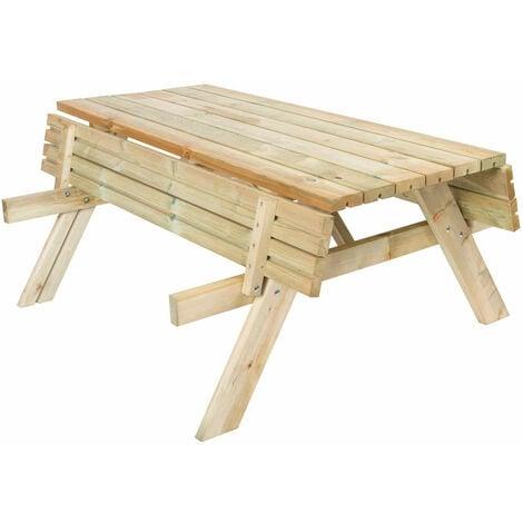 Table Pique-nique Bancs Pliables 200 Bois Traité Gardiun 198x154x74 cm 42 mm 6-8 Personnes