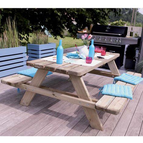 Table Pique-nique Matisse Medium - Traitée Autoclave Classe 3 - Robuste : et Pérenne - Epaisseur des Planches 4.5cm - Jusqu'à 06 Personnes - Montage Facile - Prémontée - 180à—165à—70cm