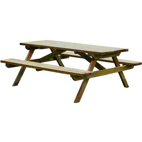 Table Pique-Nique Picolo - Traitée Autoclave Classe 3 - Robuste et Pérenne - Epaisseur des Planches 4.5cm - Montage Facile - Prémontée - Grande Capacité d'Accueil - Jusqu'à 6 Personnes - 150×152×75cm