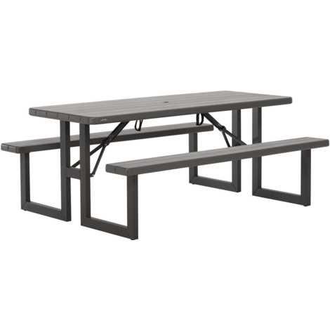 TABLE PIQUE-NIQUE RECTANGULAIRE - LIFETIME Table 183 x 76 cm + bancs / 8 personnes Plateau HDPE - Str. acier thermo-laqué Traitement Anti UV