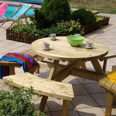 Table pique-nique ronde en bois avec bancs
