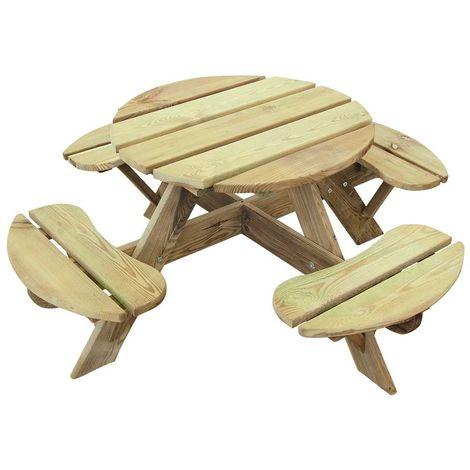 Table pique-nique ronde pour enfant 4 places