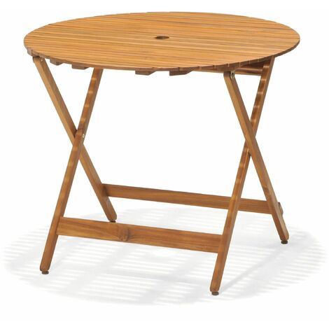 Table Pliable Chillvert Ronde Bois Acacia Diametre 90 Cm Height 75