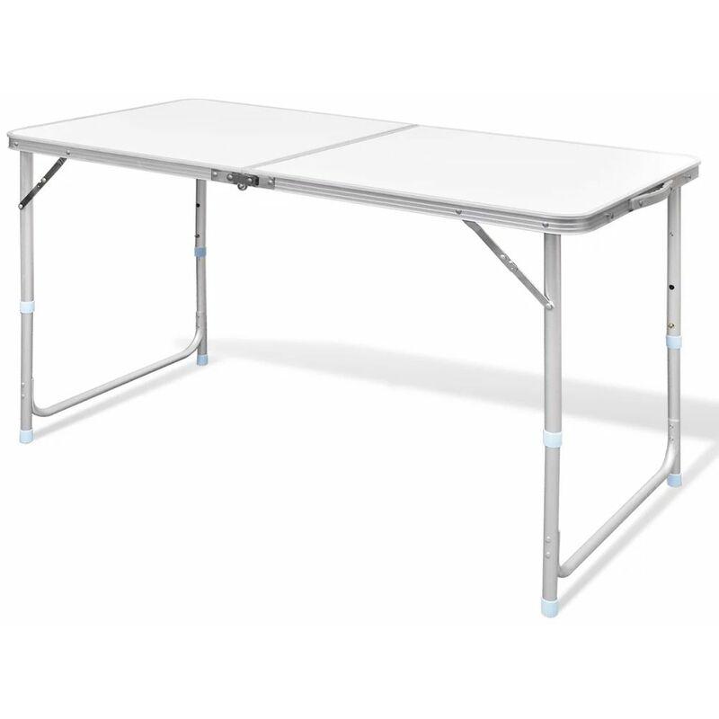 Table pliable de camping Hauteur reglable Aluminium 120x60 cm